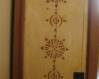 Old Victorian  Kitchen Cabinet Door Wall Hanging Solid Wood Original Stenciled Red Blue Cream Folk Painting Country Farmhouse Decor