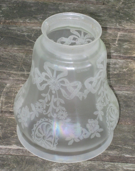 Vintage Etched Glass Chandelier Lamp Shade Fitter Globe German 1930s Frosted Glass with Bows and Flowers French Paris Chic Replacement Globe