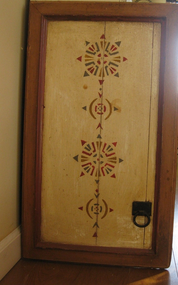 Victorian Stenciled Wall Hanging Panel Old Kitchen Cabinet