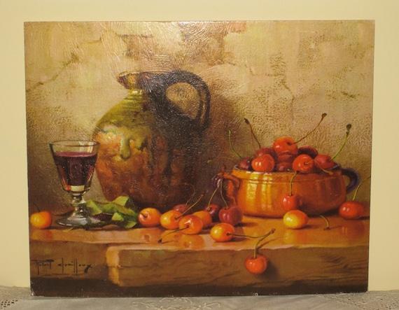 50% OFF Vintage Unframed Litho Still Life with Cherries 1960s Farmhouse Kitchen Dining  Warm Autumn Decor