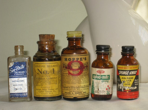 Vintage small Chemical bottle Instant Collection with original labels lot of 5 Mid Century Bottle Collectibles Clear and Brown Glass Jars