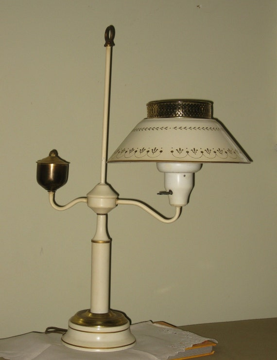 Vintage Tole Lamp Gold and Cream Mid Century Metal Lighting Shabby French Country Home Decor Student Desk Table Lamp