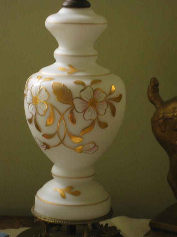 Frosted Glass Table Lamp Gold Gilt Hand Painted Flowers
