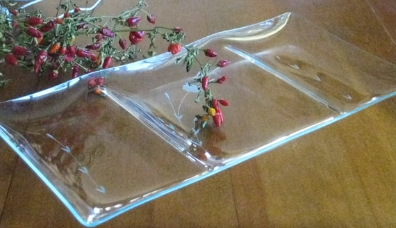 3 part Etched Glass Relish Tray Serving Dish or Jewelry Bathroom Bedroom Tray