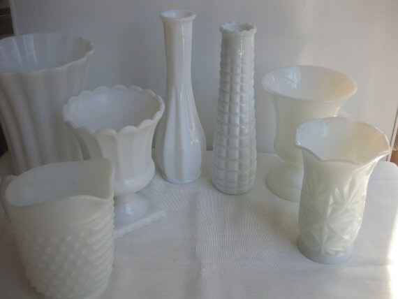 Hobnail Milk Glass Pitcher and Vase sweet instant collection of 7