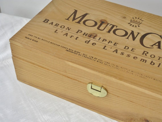 Vintage Wood Hinged Wine Box Mouton Cadet Wooden Storage Container French Cottage Decor