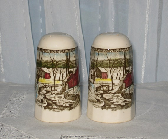 Johnson Brothers Salt and Pepper Shakers The Friendly Village Pattern Made in England Ironstone Transferware
