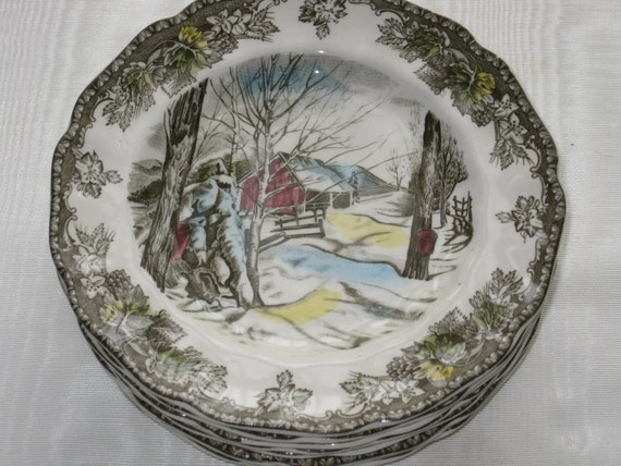 Johnson Brothers Bread and Butter Plates The Friendly Village Pattern set of 8 dishes Sugar Maples