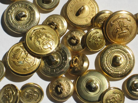 RESERVED for Titilola Bright Gold Eagle Blazer Uniform Buttons Stanley Blacker Small and Large Metal Loop Shanks Lot of 23