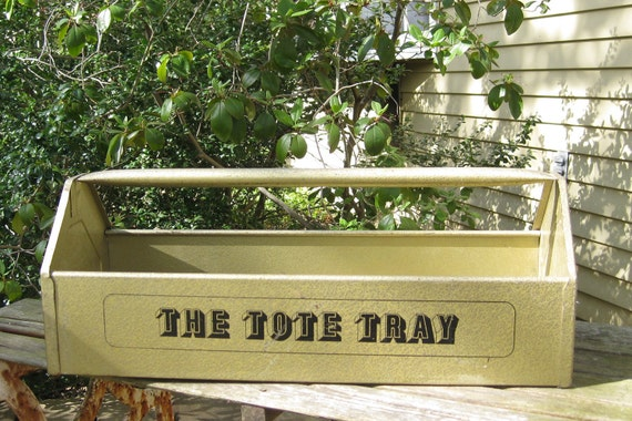 Vintage Gold Metal The Tote Tray Planter Box Tool Storage