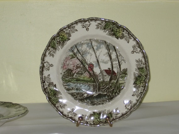 RESERVED for Sandy Johnson Brothers Friendly Village Rimmed Soup Bowls Set of 2 Ironstone English Transferware