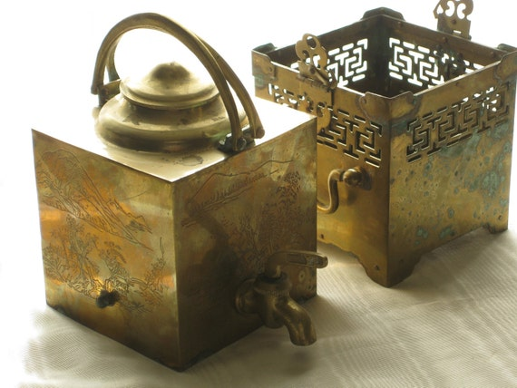Vintage Asian Brass Samovar Teapot Decorative Pierced Double Bail Handle Aged Verdi Gris Patina Mountain Etchings