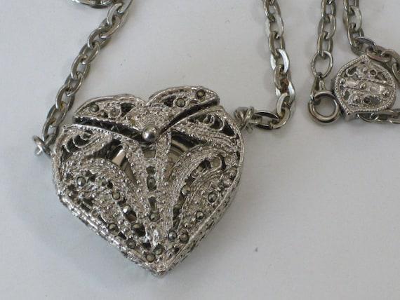 Silver Marcasite Heart Necklace Pendant Watch Long Chain Fancy Filigree Locket Womens Quartz Watch Japanese Movement