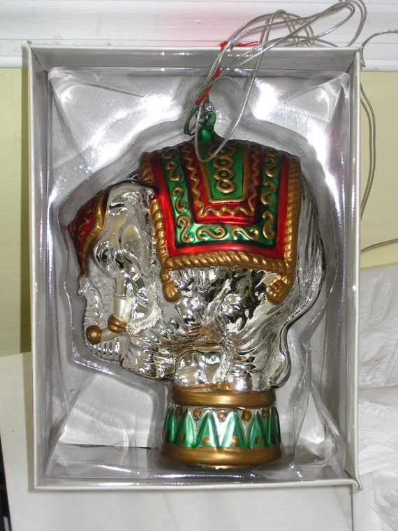 Dept 56 oversized Mercury Glass Circus Elephant Ornament NIB Very Large Unique Retired Christmas Ornament Handblown