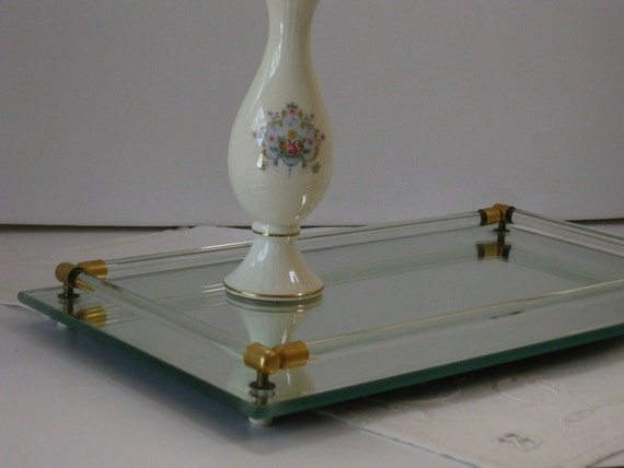 Vintage Glass Mirror Vanity Tray Glass And Brass Rails Make Up