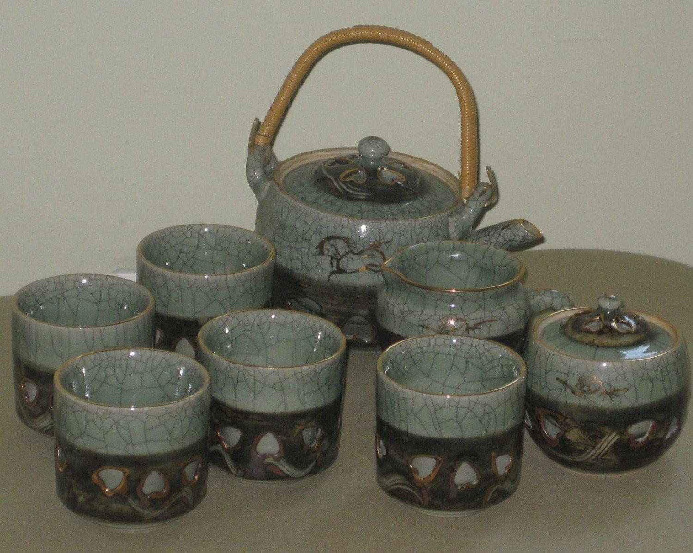 japanese soma ware somayaki pottery tea set by maggiemaevintage