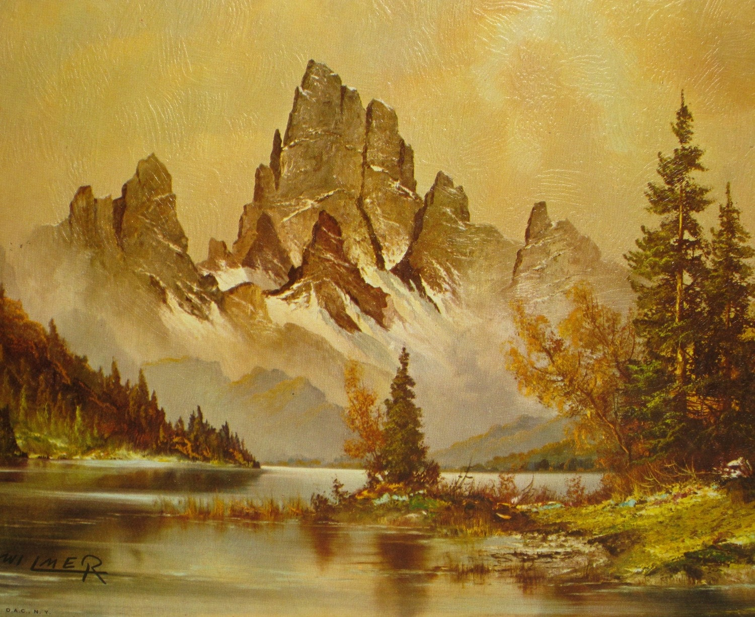 Unframed Litho Timberline Lake By Wilmer