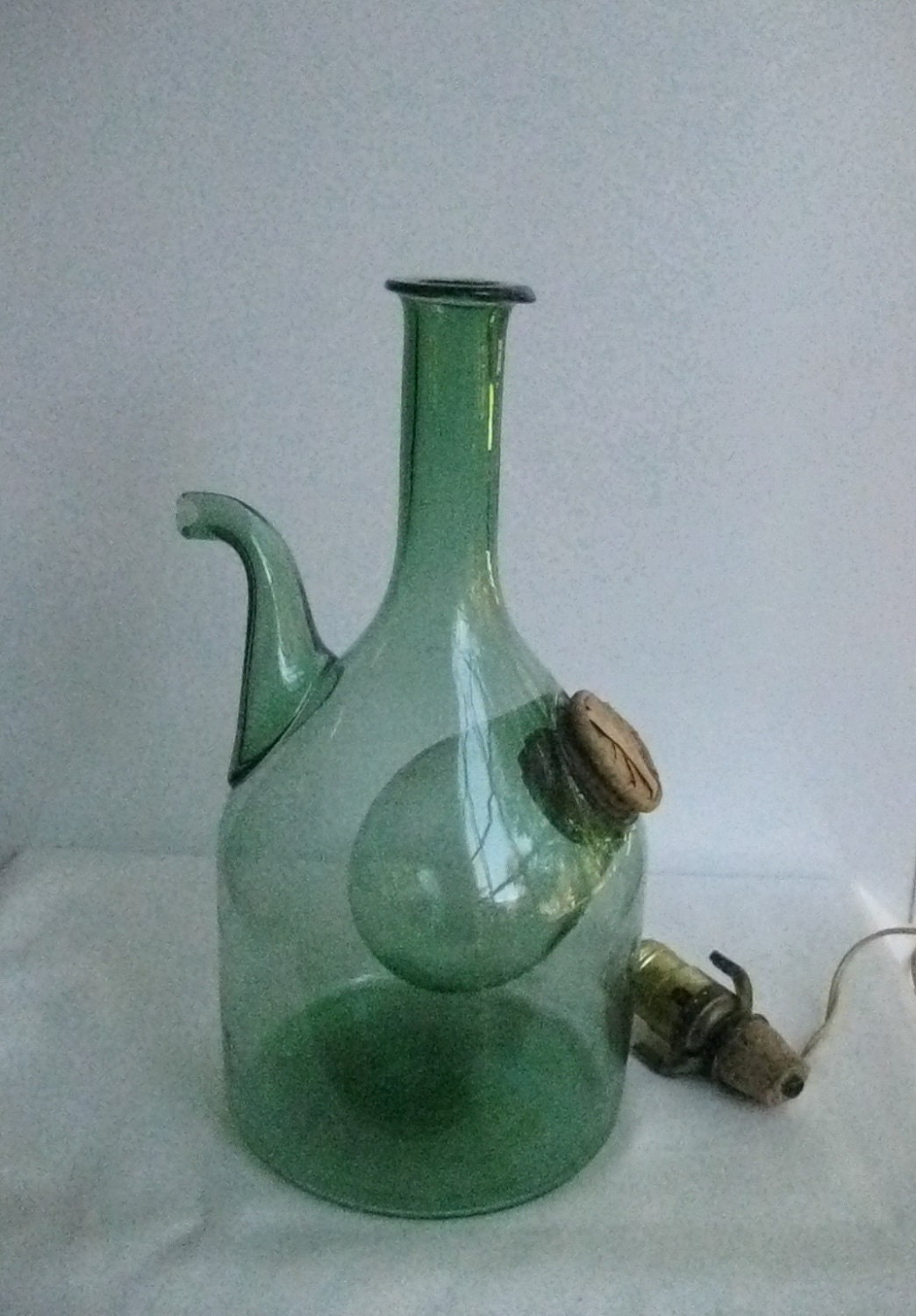 Vintage Wine Decanter Jug Chiller Green Glass By