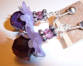 Clip-on Earrings - Frosted lilac lucite flowers with purple opalescent Czech fire-polish glass