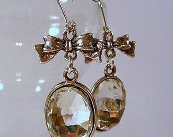Crystal Dangle Earrings, crystal cabochons, silver bows, leverback earrings, or, clip on earrings, bridal earrings, bridesmaid earrings