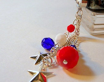 Cell phone charm, dust plug, red white and blue, stars, patriotic, bling, iphone, android, dangle, handmade