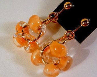 Beaded Dangle Earrings, Clip on earrings, or, leverbacks, beaded cluster, peach borosilicate lampwork glass drops, gold, handmade