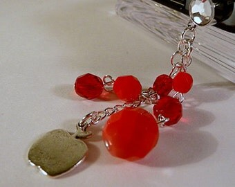 Cell phone charm, dust plug, apple, silver, red, crystal, bling, dangle, iphone, android, handmade