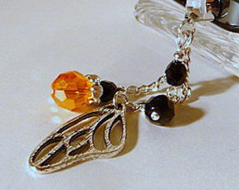 Cell phone charm, dust plug charm, Monarch butterfly cell charm, crystal beads, beaded phone dangle, phone bling, iphone, android, handmade
