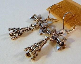 Earrings, Eiffel Tower, bows, dangle, silver, paris, leverbacks, handmade