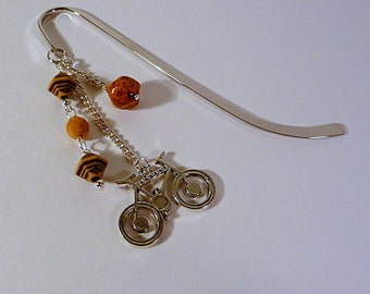 Bicycle Charm Bookmark, silver metal bookmark, beaded bookmark, bookmark dangle, handmade bookmark