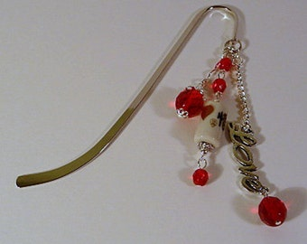 Beaded Bookmark, metal, silver, Love Script charm, red, fire polish beads, handmade