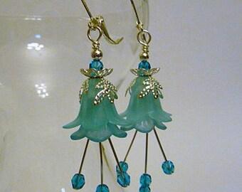Floral Earrings, lucite flowers, silver, Light turquoise blue, leverback earrings, or, clip on earrings, lightweight earrings, handmade