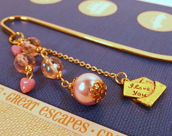 Beaded Bookmark, Love Letter bookmark, metal book mark, gold tone bookmark, pink hearts bookmark, handmade fancy bookmark