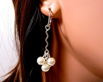 Bridal Earrings, white pearls, dangle earrings, pearl cluster earrings, silver, drop earrings, leverback earrings, clip on earrings