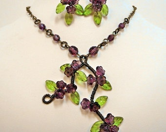 Necklace Earrings set, wire wrapped jewelry, purple flowers necklace, beaded jewelry, antiqued bronze, cottage chic, handmade, one of a kind
