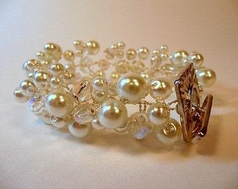 Wire Wrapped Bridal Bracelet,  white pearl bracelet, Czech fire polish crystal AB, silver, handmade