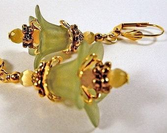 Floral Earrings, frosted green lucite flowers, gold, dangle earrings, leverback earrings, clip on earrings, handmade