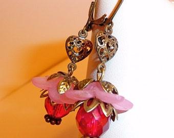 Floral Earrings, raspberry pink lucite flower earrings, antiqued brass, filigree heart, dangle earrings, leverback earrings, beaded earrings