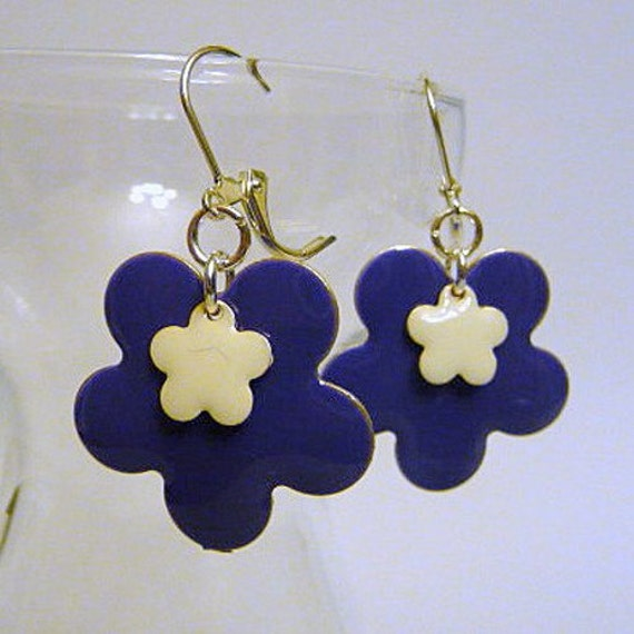 Purple Flower Earrings, large earrings, purple epoxy flowers, silver leverback earrings, or, clip on earrings, dangle earrings, handmade