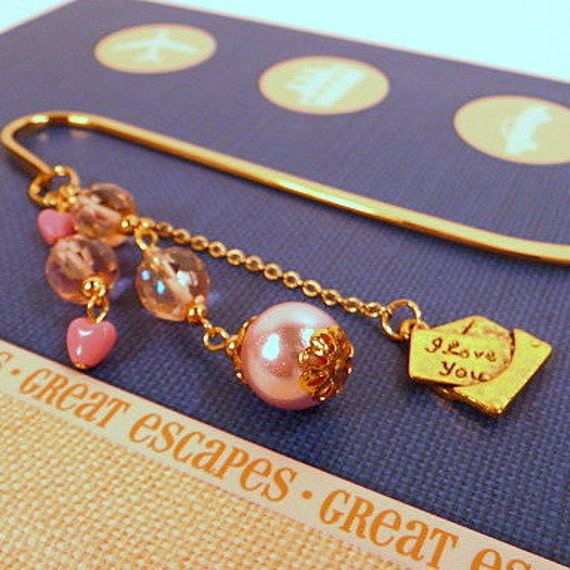 Beaded Bookmark - Love Letter, metal, gold, pink, hearts, handmade