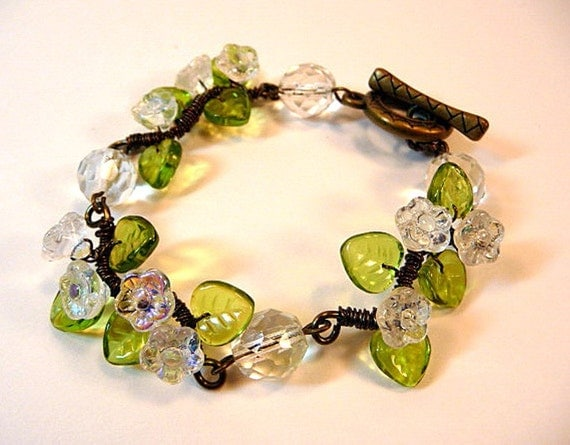 Bracelet, wire wrapped, floral, crystal clear, flowers, green, glass leaves, antiqued bronze