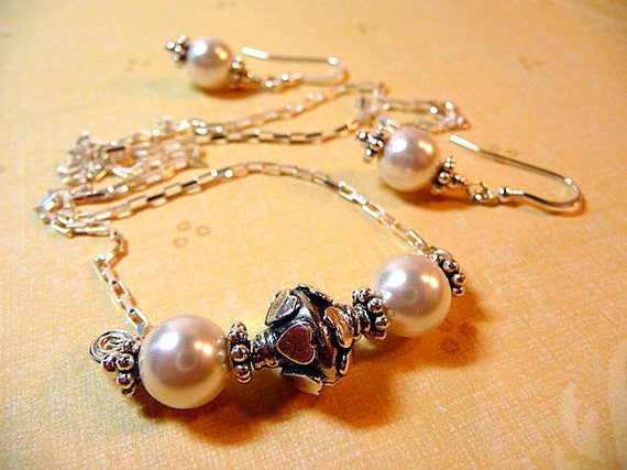 Pearl Necklace, earrings, set, sterling silver, white pearls, heart, wedding, bridal, handmade