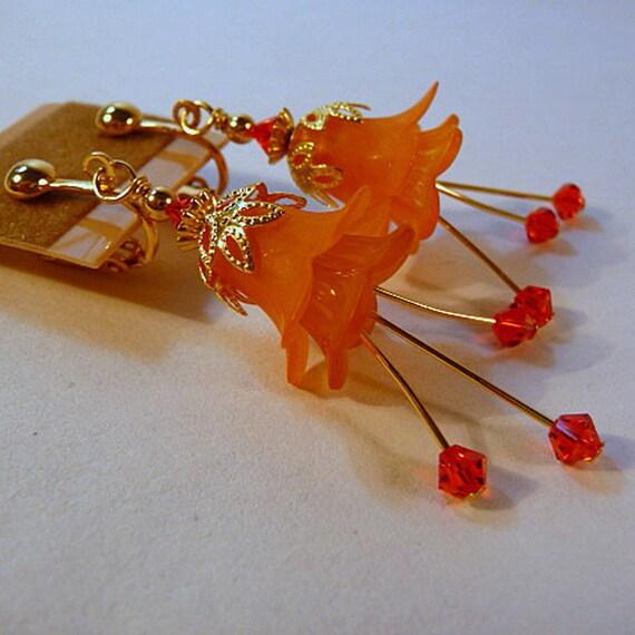 Clip-on Earrings - lucite flowers, tangerine, orange, gold
