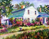The Garden House, 24x36 original painting on a wrap around canvas, beautiful colors, ready to hang, On Sale....