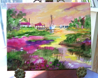 Sea Island Morning.........8x10 original landscape on canvas, beautiful colors, varnished and ready for you to frame.......
