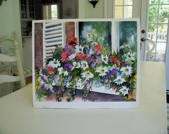 Windowbox,  original watercolor 18x23 worked on 300 lb acid free watercolor paper.......Dramatic and vivid in color .
