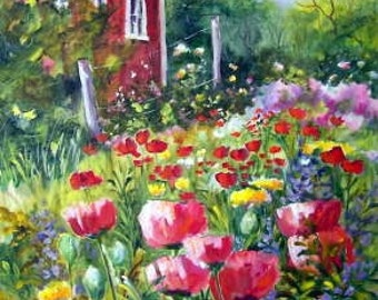 The Backyard, 40x30 painting worked on a wrap around canvas, NO FRAMING.  Poppies and wildflowers abound...