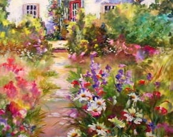 The Garden Shed.......40x30 on a wrap around canvas....rich colors. . shipped free