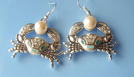 Silver Caribbean Crab Earrings