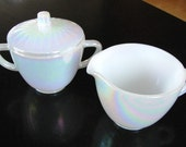 Vintage Cream & Sugar Bowl Set Federal Moonglow with Lid